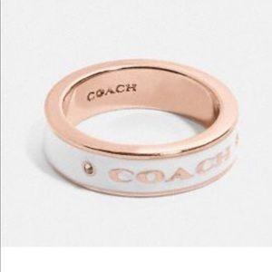 NWT -  Coach Signature Rose Gold/White Coach Ring